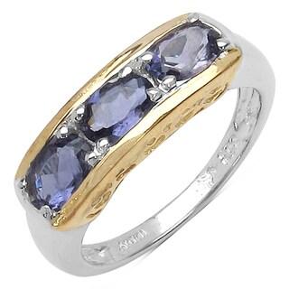 Malaika Two-tone Silver 1 1/4ct TGW Genuine Iolite Ring