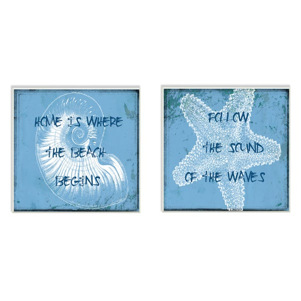 Follow the Sound of the Waves Star and Shell 2-Piece Art Wall Plaque Set