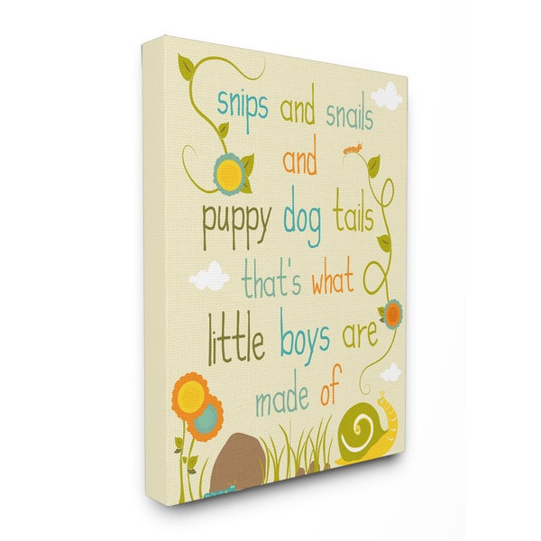 Snips and Snails and Puppy Dog Tails Textual Art 16-inch x 20-inch Canvas
