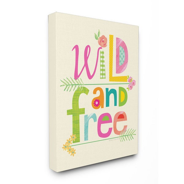 Wild And Free Textual Art 16-inch x 20-inch Canvas