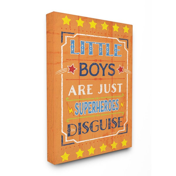 Little Boys Are Just Superheroes In Disguise Textual Art 16-inch x 20-inch Canvas