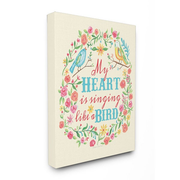 My Heart is Singing Like a Bird Floral Graphic Art 16-inch x 20-inch Canvas
