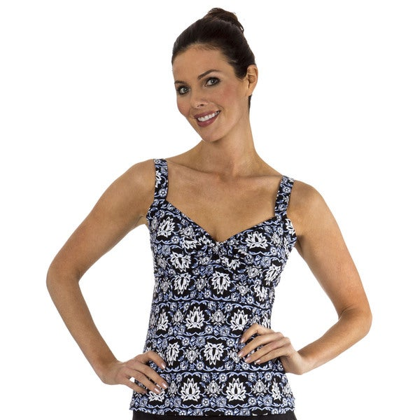 Mazu Swim Magic Carpet Underwire Tie Front Tankini Top Black/ White Size 10 (As Is Item)