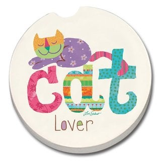 Counterart Absorbent Stone Car Cat Lover Coaster (Set of 2)