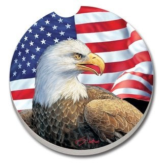 Counterart Absorbent Stone Car Eagle and Flag Coaster (Set of 2)