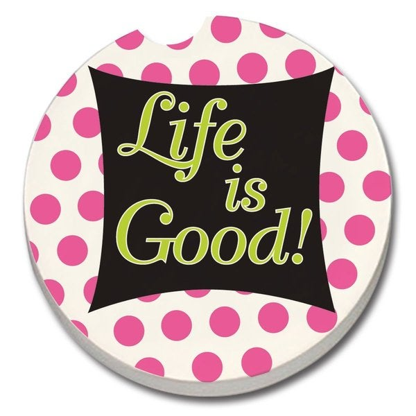 Counterart Absorbent Stone Car Life is Good Coaster (Set of 2)