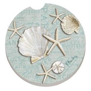 Counterart Absorbent Stone Car Linen Shells Seashells Coaster (Set of 2)