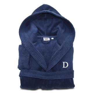 Sweet Kids Midnight Blue with White Monogram Turkish Cotton Hooded Terry Bathrobe