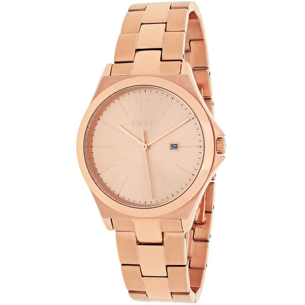 DKNY Women's NY2367 Parsons Round Rose Goldtone Stainless Steel Bracelet Watch