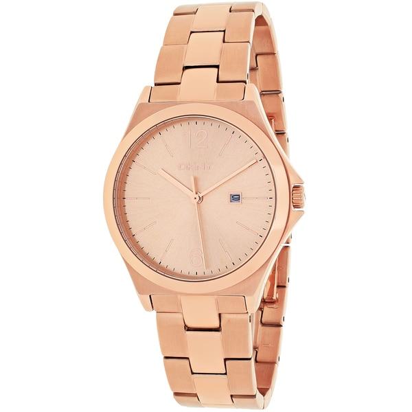 DKNY Women's NY2367 Parsons Round Rose Goldtone Stainless Steel Bracelet Watch