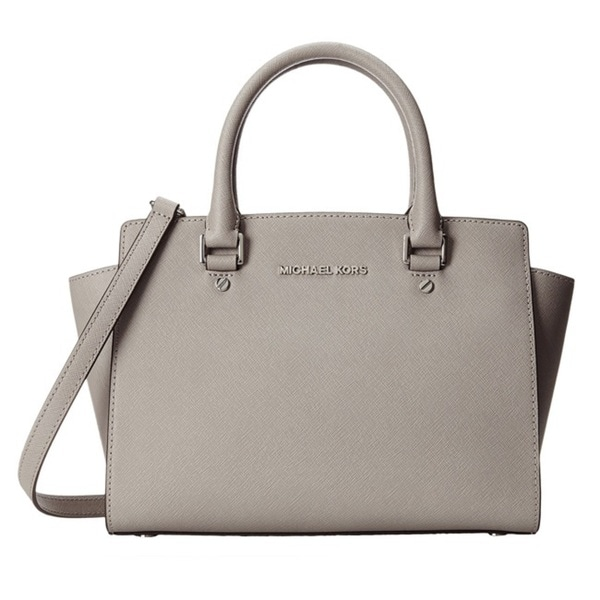 MICHAEL Michael Kors Selma Medium Top Zip Satchel - Pearl Grey