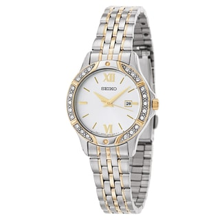 Seiko Bracelet SUR864 Women's Stainless Steel and Yellow Gold Plated Watch