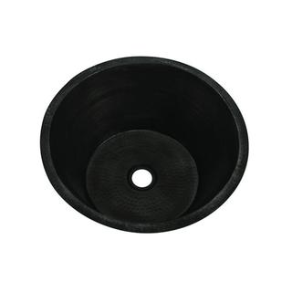 Self-Rimming/Undermount Copper 17-inch x 8.5-inch 0-Hole Single Bowl Round Kitchen Sink in Oil Rubbed Bronze