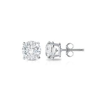 Auriya Platinum 1/3ct TDW 4-Prong Push-Back Round Diamond Stud Earrings (H-I,SI2-SI3)