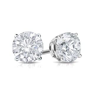 Auriya Platinum 1/2ct TDW 4-Prong Push-Back Round Diamond Stud Earrings (H-I,SI2-SI3)