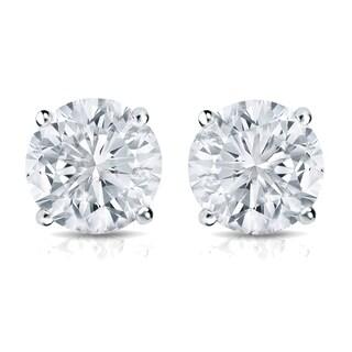 Auriya Platinum 3/4ct TDW 4-Prong Push-Back Round Diamond Stud Earrings (H-I,SI2-SI3)