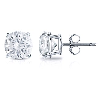 Auriya Platinum 1ct TDW 4-Prong Push-Back Round Diamond Stud Earrings (H-I,SI2-SI3)
