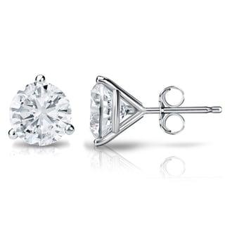 Auriya 18k Gold 1ct TDW 3-Prong Push-Back Round Diamond Stud Earrings (H-I, SI2-SI3)