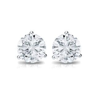 Auriya Platinum 1/3ct TDW 3-Prong Push-Back Round Diamond Stud Earrings (H-I,SI2-SI3)