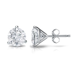 Auriya Platinum 1/2ct TDW 3-Prong Push-Back Round Diamond Stud Earrings (H-I,SI2-SI3)