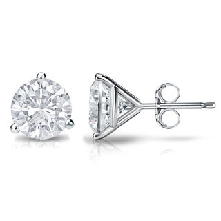 Auriya Platinum 3/5ct TDW 3-Prong Push-Back Round Diamond Stud Earrings (H-I,SI2-SI3)