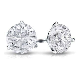 Auriya Platinum 3/4ct TDW 3-Prong Push-Back Round Diamond Stud Earrings (H-I,SI2-SI3)