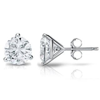 Auriya Platinum 1ct TDW 3-Prong Push-Back Round Diamond Stud Earrings (H-I,SI2-SI3)