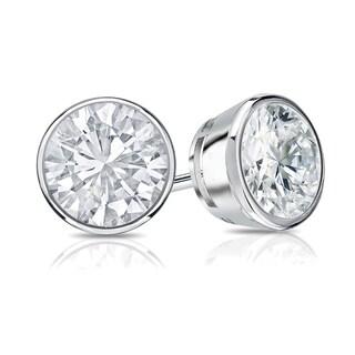 Auriya 14k Gold 3/4ct TDW Bezel Push-Back Round Diamond Stud Earrings (H-I,SI2-SI3)