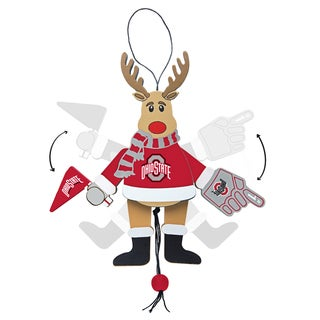 Ohio State Buckeyes Wooden Cheering Reindeer Ornament