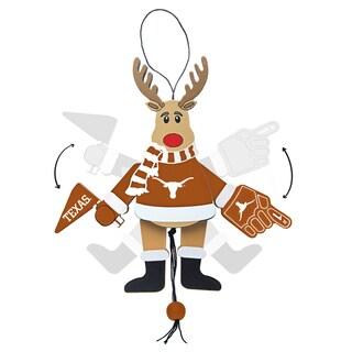 Texas Longhorns Wooden Cheering Reindeer Ornament
