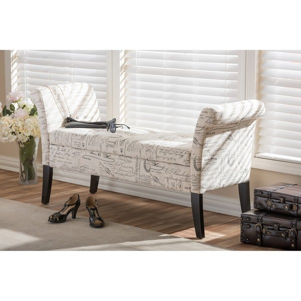 Baxton Studio Avignon Script-Patterned French Laundry Fabric Storage Ottoman Bench
