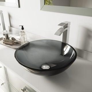 VIGO Sheer Black Glass Vessel Sink and Duris Bathroom Faucet in Brushed Nickel