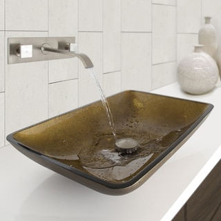 VIGO Rectangular Copper Glass Vessel Sink and Titus Wall Mount Faucet in Brushed Nickel