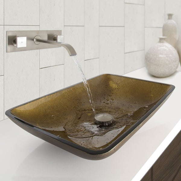 vigo rectangular copper glass vessel sink and titus wall mou