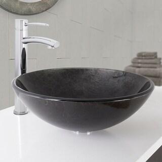 VIGO Gray Onyx Glass Vessel Sink and Milo Faucet in Chrome