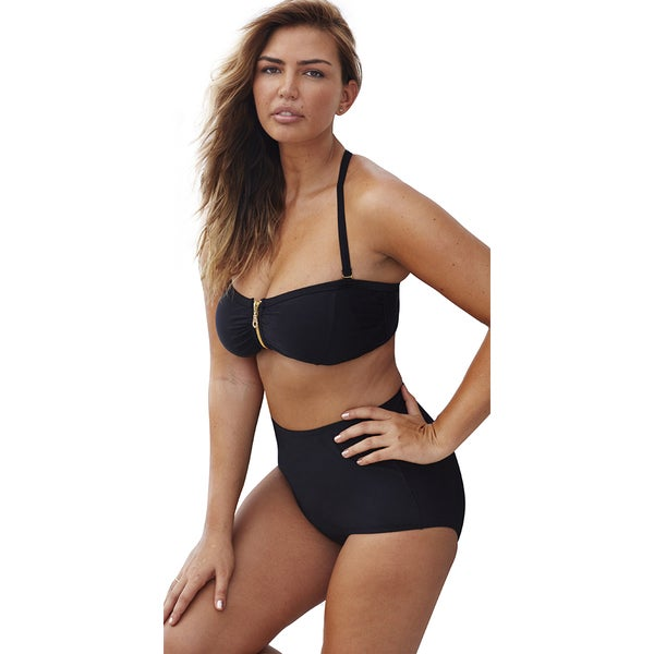 Swim Sexy Black Zip Front Twist Back Bikini