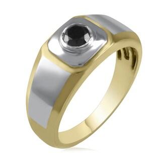 Sterling Silver 1/2ct TDW Black Diamond Wedding Band Men's Ring