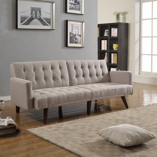 Modern Splitback Linen Fabric Convertible Sleeper Sofa Futon