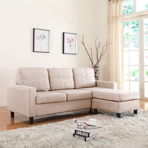 Small Fabric Sofas : Small Space Linen Fabric Sectional Sofa with Reversible Chaise ...
