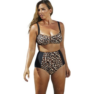Swim Sexy Leopard with Black Panels Underwire Bikini