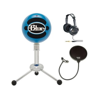 Blue Microphones Snowball USB Microphone (Electric Blue) + JVC Full-Size Studio Headphones & Microphone Pop Filter