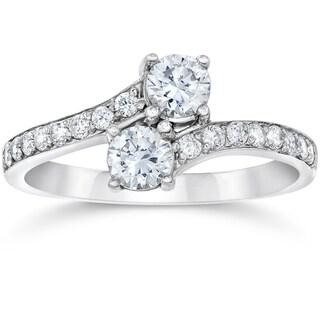 10k White Gold 1ct TDW 2-Stone Diamond Ring (I-J I2-I3)
