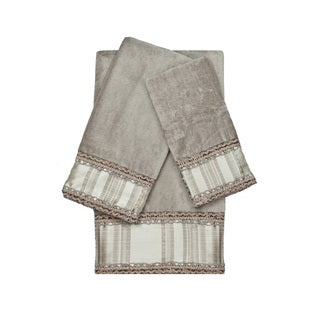 Sherry Kline Norwood Stripe Grey 3-piece Decorative Embellished Towel Set