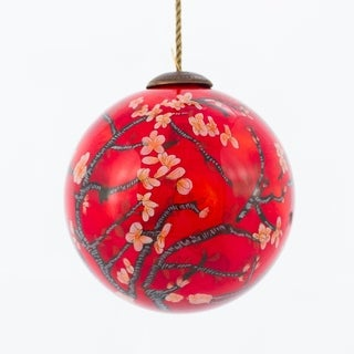 Vincent Van Gogh 'Branches of an Almond Tree in Blossom, Red' Hand Painted Glass Ornament