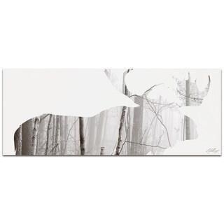 Adam Schwoeppe 'Moose Landscape' Contemporary Metal Animal Silhouette Art