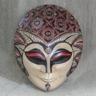 Handcrafted Pule Wood 'Java Bride' Batik Mask (Indonesia)