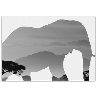 Adam Schwoeppe 'Elephant Savanna' Contemporary Metal Animal Silhouette Art