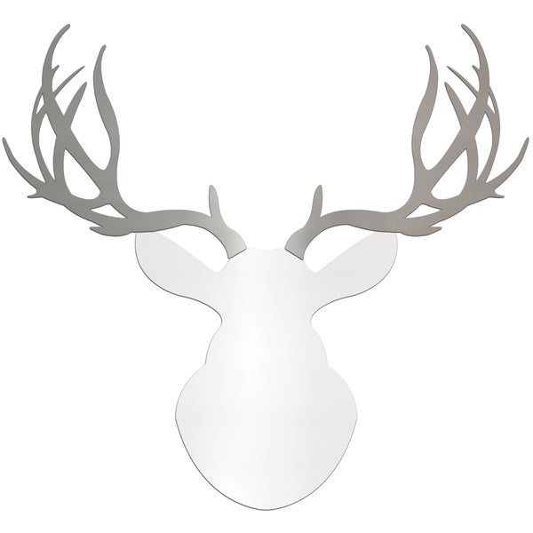 Adam Schwoeppe 'Regal Buck' Large White & Silver Deer Silhouette Wall Sculpture