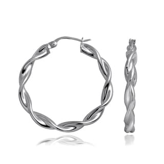 Mondevio High Polished Braid Twist 3.5mm Hoop Earrings