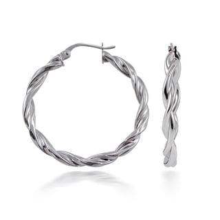 Mondevio High Polished Concave Twist 3mm Hoop Earrings